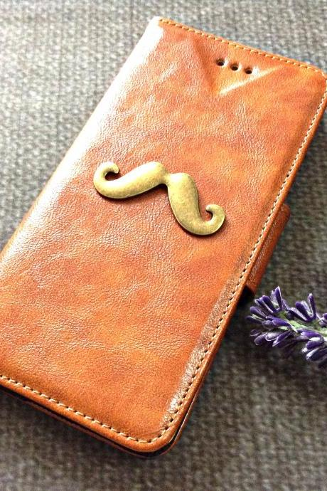Moustache iPhone 6 wallet case, iPhone 6 plus wallet case, iPhone 5 5s 5c wallet case, Samsung galaxy S5 S4 S3 wallet case, Samsung galaxy note 4 note 3 case
