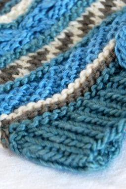 Blue Boy Beanie - High Quality Natural Product - Size 12 Month - Material: 1/2 Silk & 1/2 Wool - Swisshandmade
