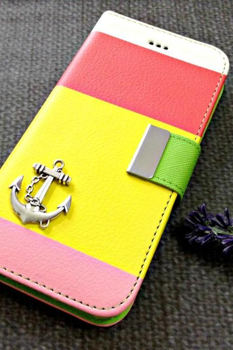 Anchor iPhone 6 wallet case, iPhone 6 plus wallet case, iPhone 5 5s 5c wallet case, Samsung galaxy S5 S4 S3 wallet case, Samsung galaxy note 4 note 3 case