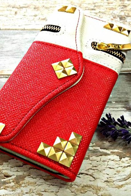 Stud iPhone 6 wallet case, iPhone 6 plus wallet case, iPhone 5 5s wallet case, Samsung galaxy S5 S4 S3 wallet case, Samsung galaxy note 4 note 3 case