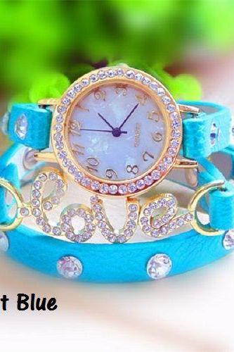 Bracelet sky blue leather strap rhinestones love girl watch