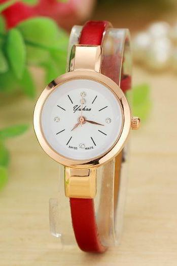 Fashion red Dress Thin Strap Woman Watch