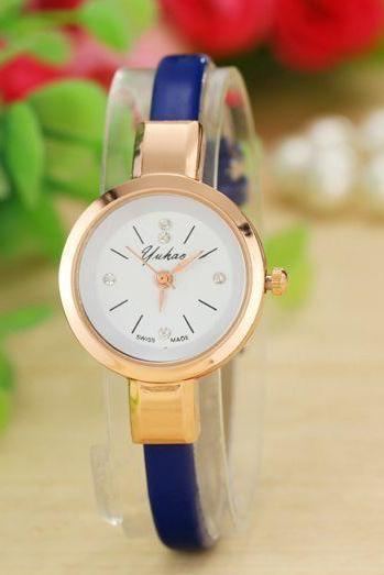 Fashion blue Dress Thin Strap Woman Watch
