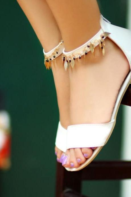 Fashion Flat Low Heel Ankle Strap White PU Sandals