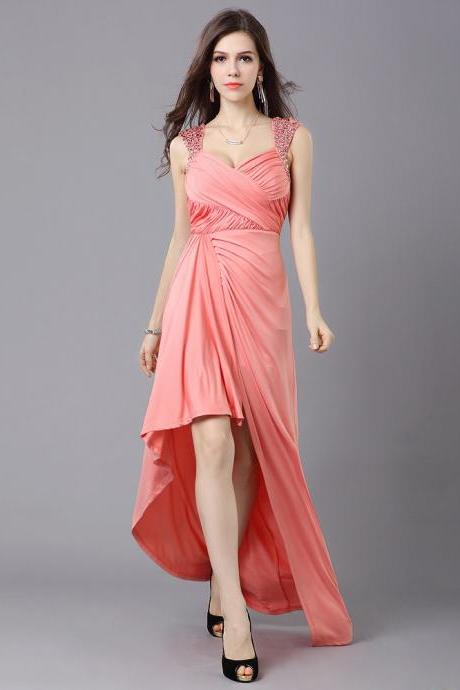 Pink Jersey Cap Sleeves Party Dress With High Low Skirt