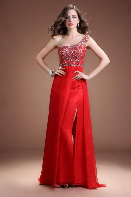 2015 Red Chiffon Beaded One Shoulder Evening Gown