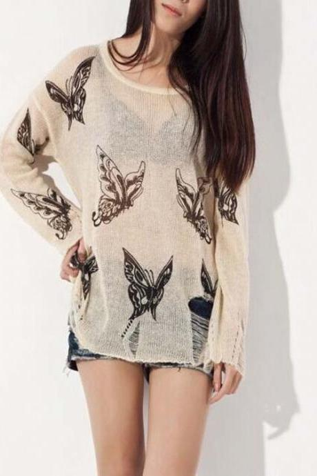 round neck loose sweater hollow butterfly wowen sweater