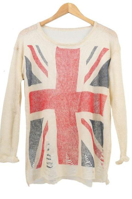 American flag round neck loose sweater