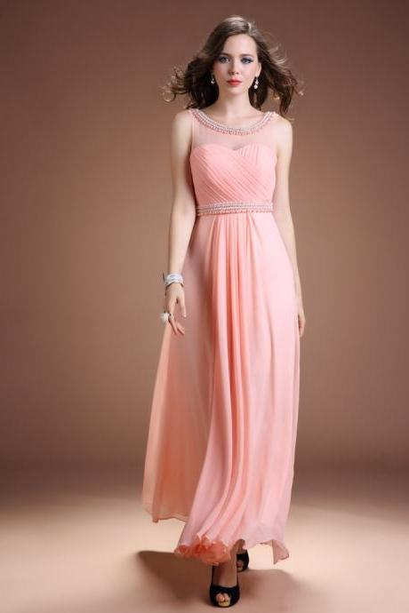 Pink Chiffon illusion Neckline Evening Dress With Open Back