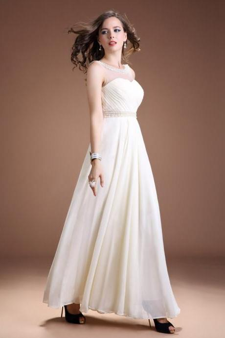 Ivory Chiffon illusion Neck Long Evening Gown With Beading