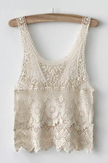Hollow Crocheted Lace Tank Top