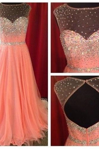 Handmade Beading and Sequins Prom Dresses, O-Neck Prom Dresses, Real Made Prom Dresses,Chiffon Backless Prom Dresses On Sale