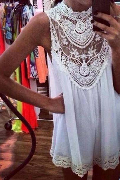 Pretty White Lace Hollowed Dress