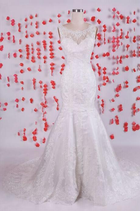 Designer Bateau Lace Mermaid Wedding Dress With V Back