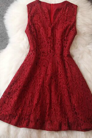 Slim Fashion Lace Sleeveless Dress