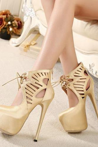 Cheap Fashion Round Closed Toe Hollow-out Lace-up Platform Stiletto Super High Heel Gold PU Basic Pumps