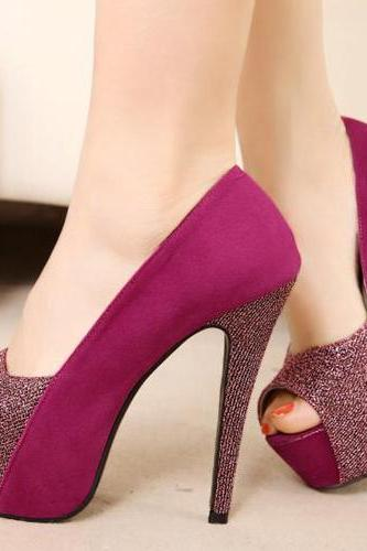 Sweet Round Peep Toe Super High Stiletto Rose Suede Pumps