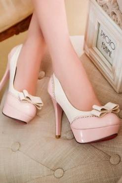 Fashion Round Toe Closed Stiletto High Heel Basic Pink PU Pumps