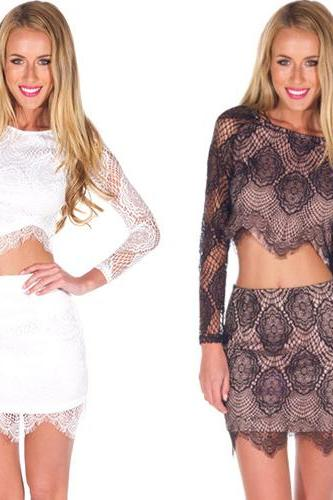Fashion Long Sleeve Lace Tops + Skirt Two-Piece Set