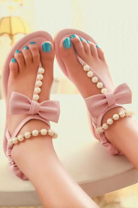 Fashion Flat Low Heel T Strap Pink PU Sandals