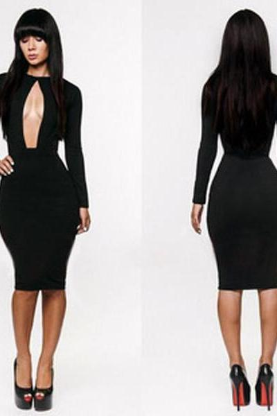 Sexy Party Nightclubs Bodycon Long Sleeve Slim Package Hip Black Bandage Dress