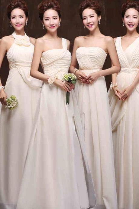 Six Style Long Chiffon Bridesmaid Dresses