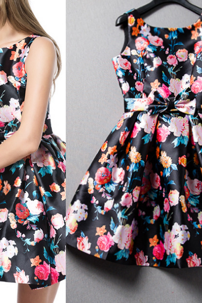 2015 Stereo Flower Printed Cultivate One's Morality Dress
