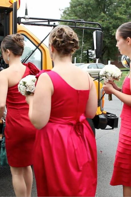 Red a line chiffon bridesmaid dresses with sweetheart neckline and criss-cross pleat length zipper back for brida