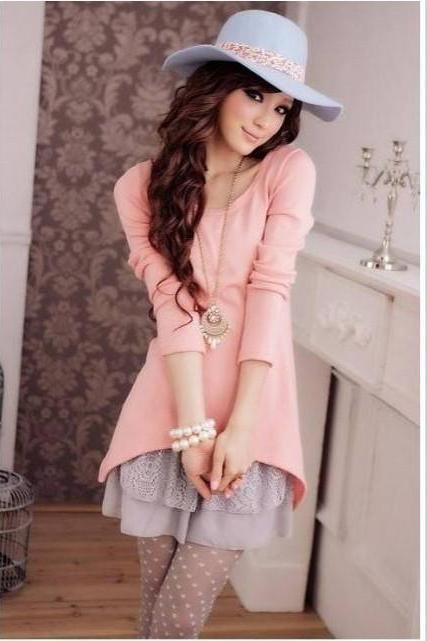 Cute Korean Style Lovely Knitting Sweet Mini Long Sleeve Womens Ladies Dress,Y59