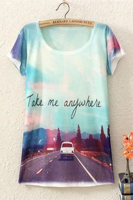 Take my anywhere adventure Print Fashion Tee Girl Top