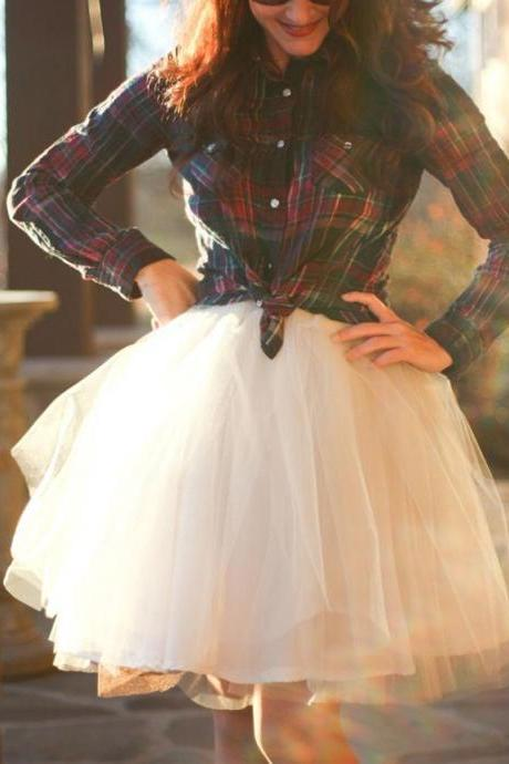 S-10 Fashion Skirt, Street Style Skirt,Tulle Skirt,Charming Women Skirt,spring Autumn Skirt ,A-Line Skirt