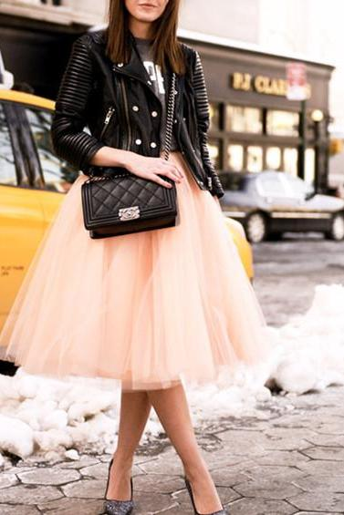 S-6 Mid-Length Skirt, Street Style Skirt,Tulle Skirt,Charming Women Skirt,spring Autumn Skirt ,A-Line Skirt