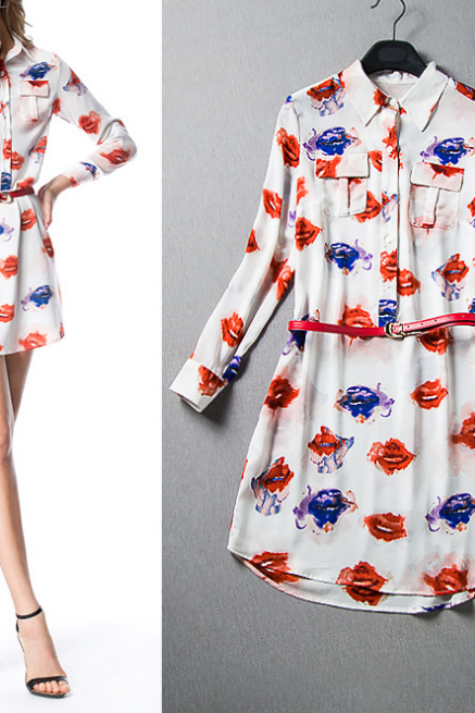 2015 the European and American high-end women's printed shirt dress