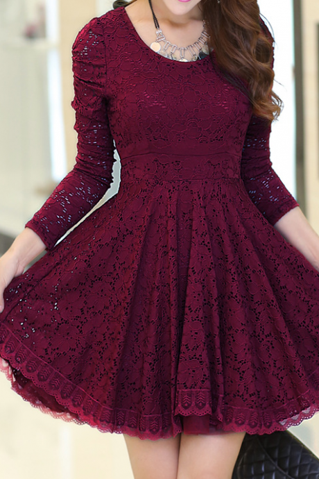 Round neck long-sleeved lace princess dress SF31106JL