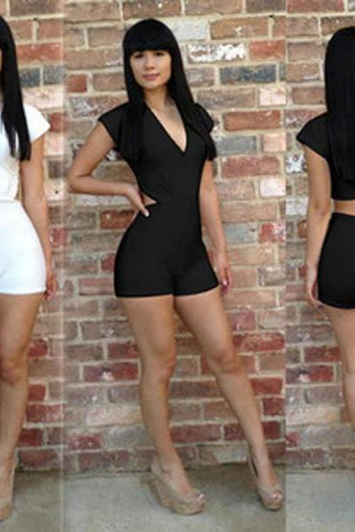 Sexy Party Nightclubs Bodycon V Neck Halter Jumpsuits Shorts