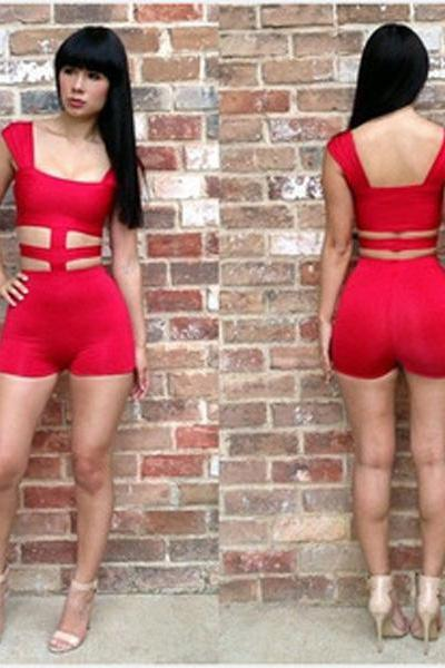Sexy Party Nightclubs Bodycon Elegant Halter Front Red Cross Jumpsuit Short Set