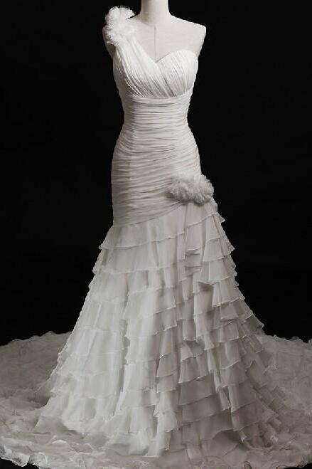 2014 Chiffon One Strap Pleated Mermaid Wedding Dress With Tiered Skirt