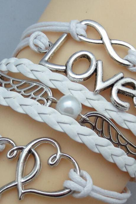 Jewelry Leather Cute Infinity Love Heart Wings Charms Bracelet