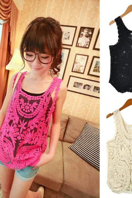 Lace Floral Pattern Crochet Tank Tops