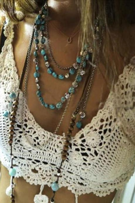Crochet Flower Tassel Tanks Camis
