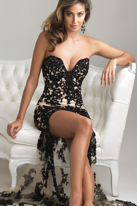 Lace set auger strapless gown with