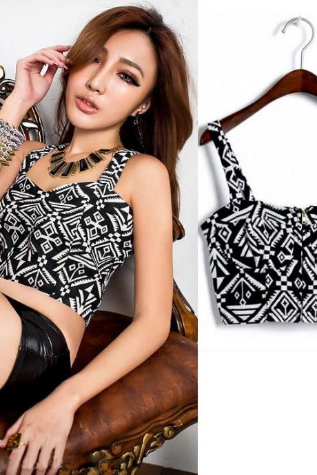Printed Zipper Front Crop Top