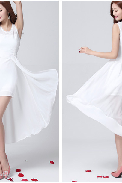 In the spring of 2015 Summer new irregular dovetail chiffon dress334