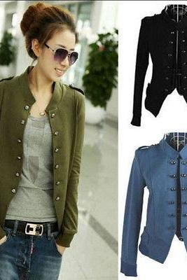 Hot Women Epaulet Long Sleeve Stand-up Collar Double Breasted Coats Jacket Cool