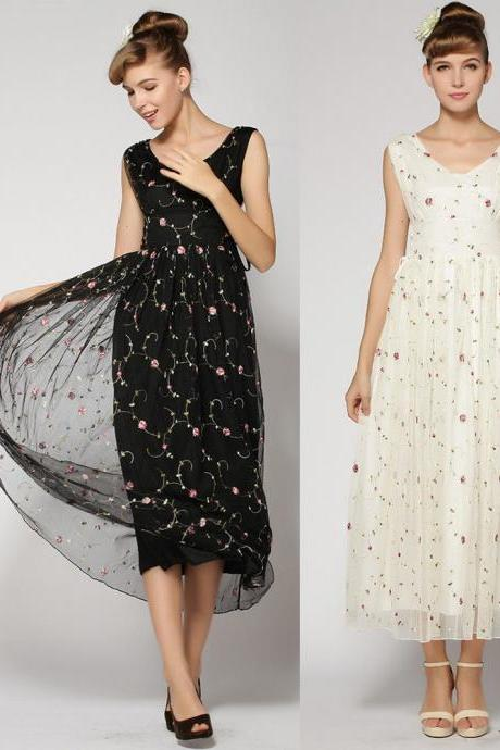 WOMENS ELEGANT Organza LONG MAXI EMBROIDERED FLORAL EVENING COCKTAIL PARTY DRESS