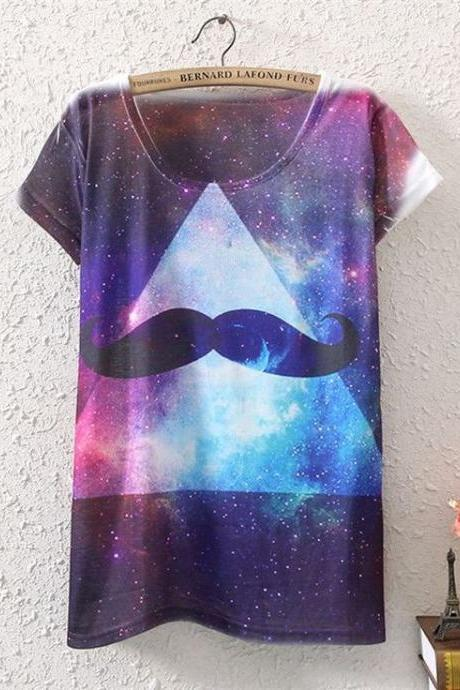 Mustache teen casual party club shirt top