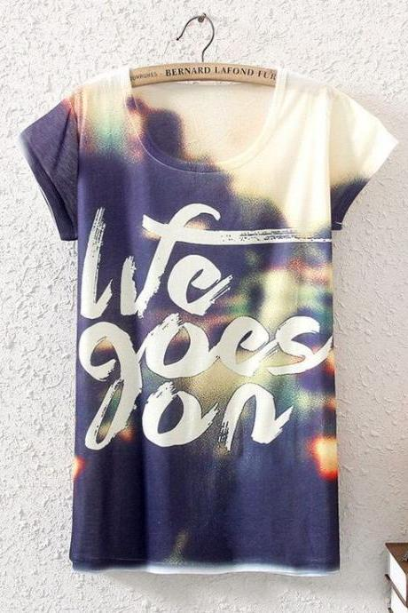 Life goes on blue summer top woman tee