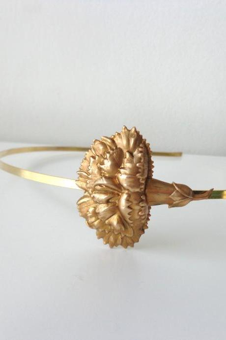 Gold brass carnation flower metal headband