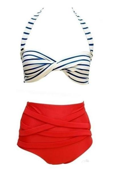 Swimwear Vintage Push Up High Waist Bikini Set