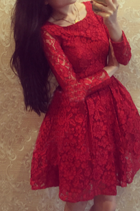 Slim round neck long-sleeved lace dress VC31209MN
